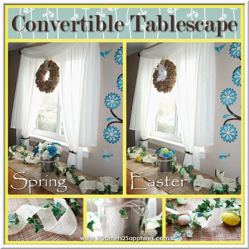 Easy Convertible Spring to Easter Tablescape #SpringCrafts #EasterCrafts