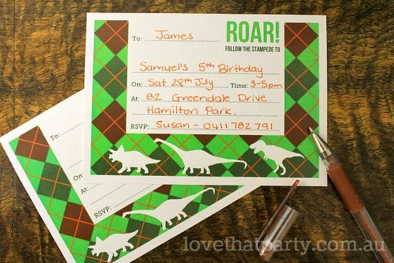 dinosaur birthday party invitations fill in write on desk with pen green orange brown
