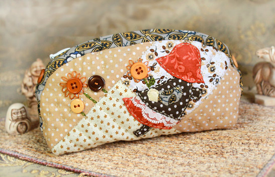Cosmetic Bag Japanese Patchwork. DIY Photo Tutorial and Pattern