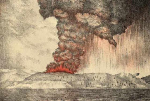 Ilustrasi letusan gunung krakatau Indonesia yang terjadi pada 1883