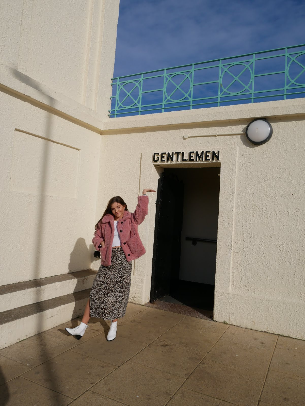 North East Fashion blogger outside retro toilets