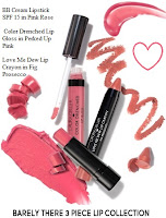 BARELY THERE LauraGeller bb cream lipstick spf 15 pink rose perked up love me dew lip crayon fig