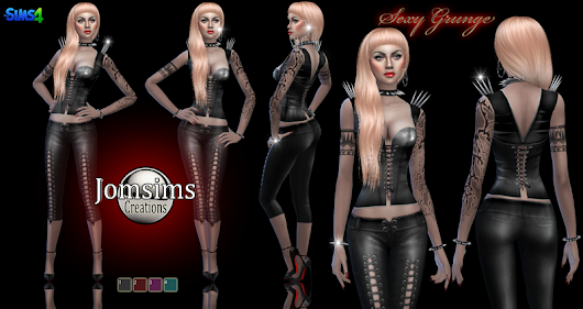 Sexy grunge outfit with integrated jewelry. click image to download women's clothing area on http://www.jomsimscreations.fr WEBSITE