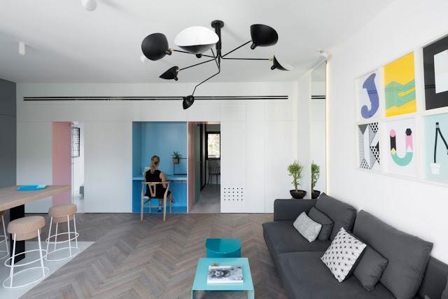 Функциональный и красочный интерьер небольшой квартиры в Тель-Авиве, Израиль