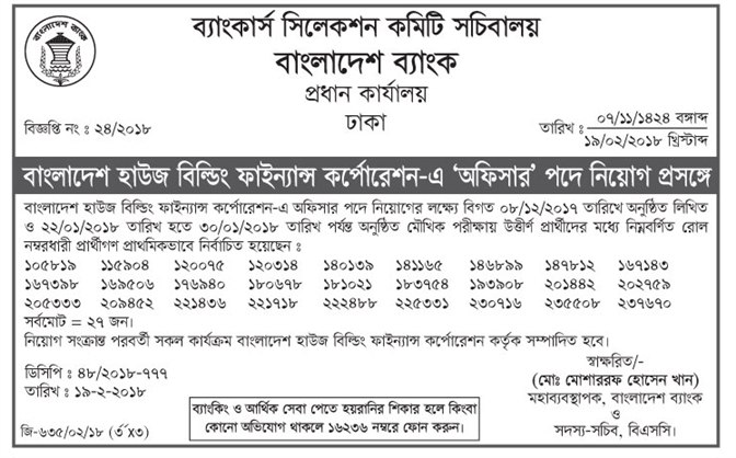 Bangladesh House Building Finance Corporation (BHBFC) Officer 08122017 Written Test and 22012018 to 30012018 Viva Test Selected list