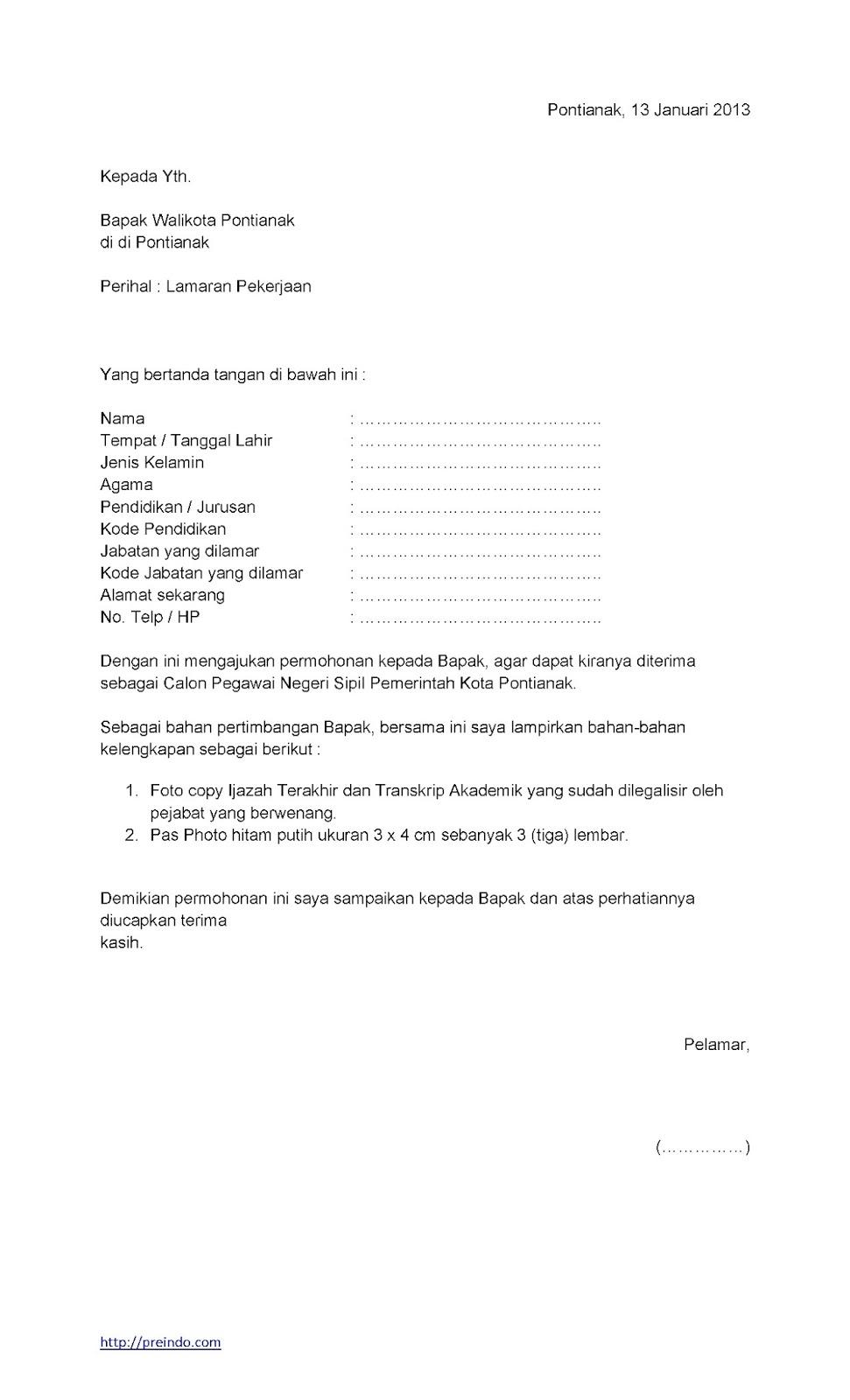 contoh surat lamaran kerja kantor dinas ben jobs