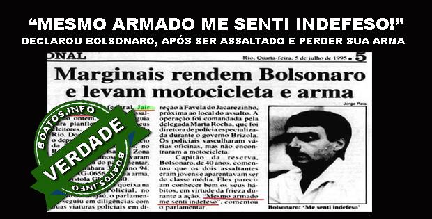 Bolsonaro foi assaltado e teve sua arma roubada - Verdade