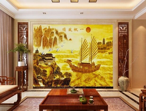 Tranh 3D Thuận Buồm Xuôi gió Vàng Tài Lộc