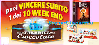 Logo Vinci 10 weekend alla Fabbrica del Cioccolato Kindek e Ferrero