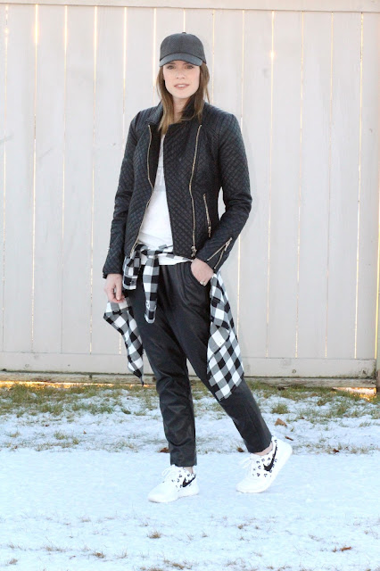 Quilted leather jacket and faux leather pants Alaska Fashion Blog- Pardon My French