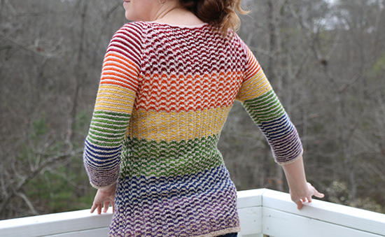 Back View of Rainbow Version of Wool Chromatic Sweater
