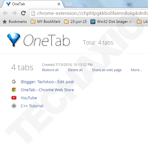 OneTab extension
