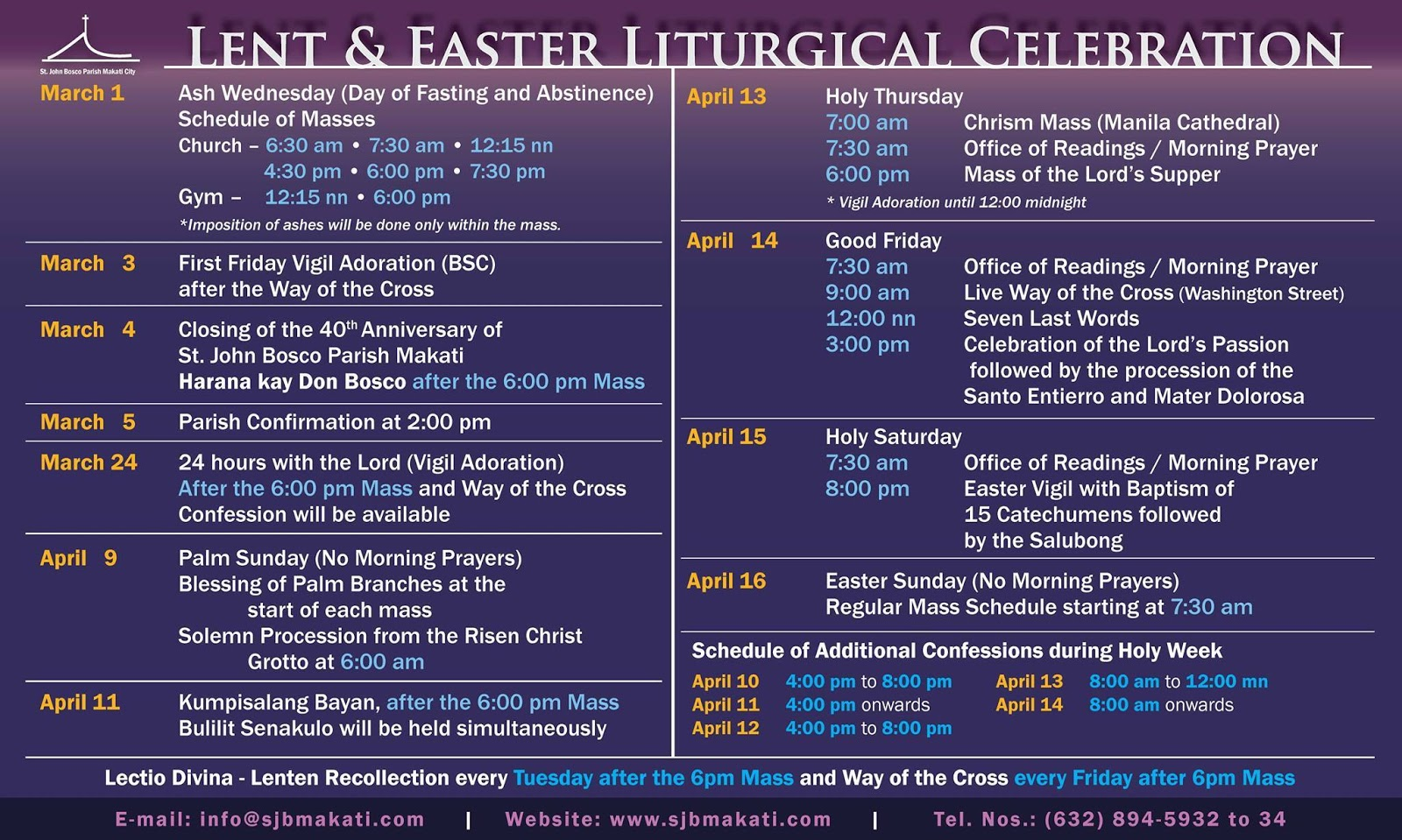 Names for the Holy Week 2017, church calendar names 13