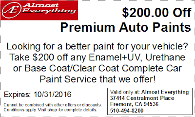 Discount Coupon $200 Off Premium Auto Paint Sale October 2016