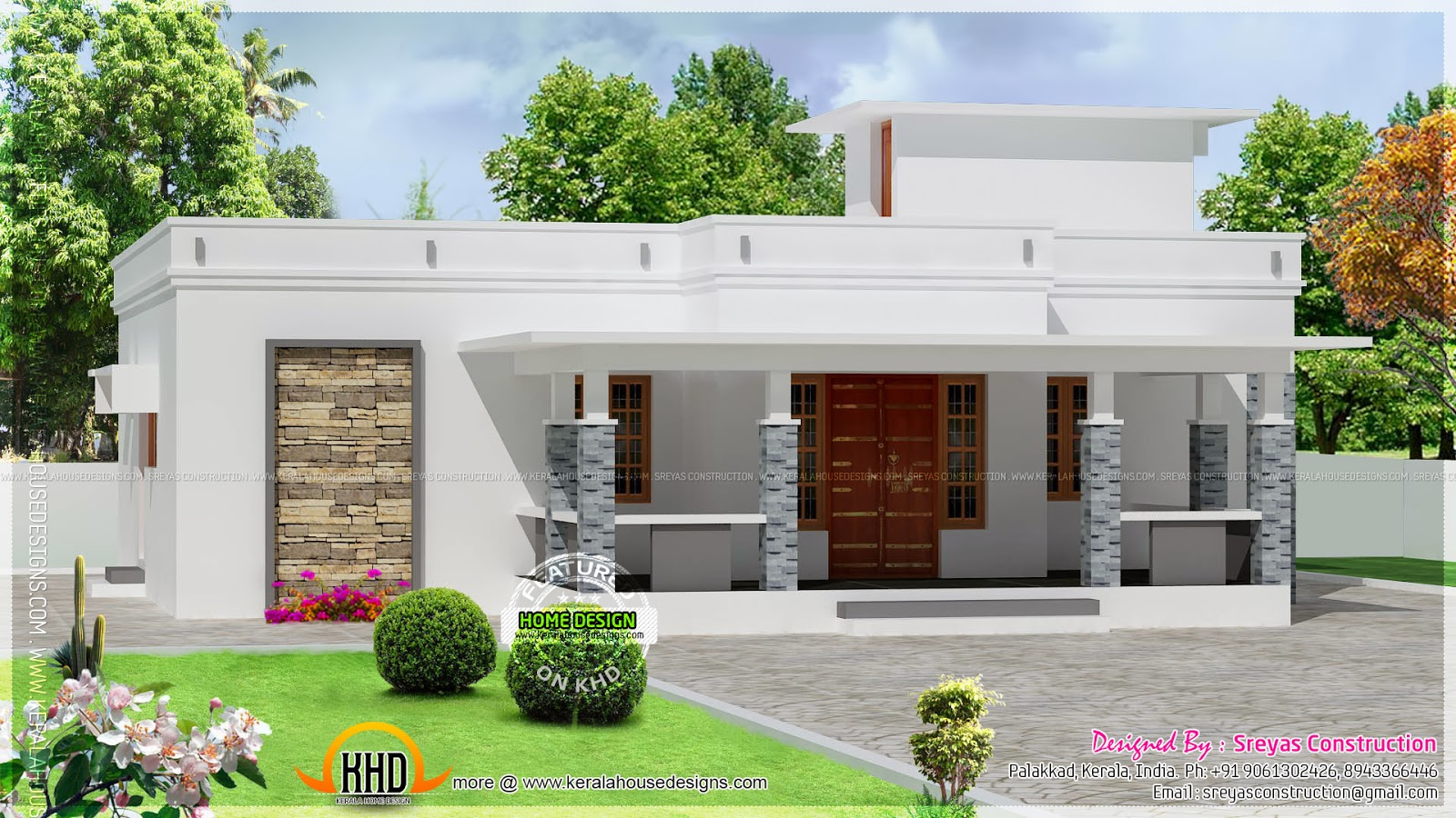 35 small and simple but beautiful house with roof deck for Single floor house elevations indian style