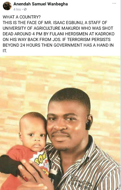 Staff of University of Agriculture, Benue shot dead by Fulani herdsmen along Lafia-Makurdi road
