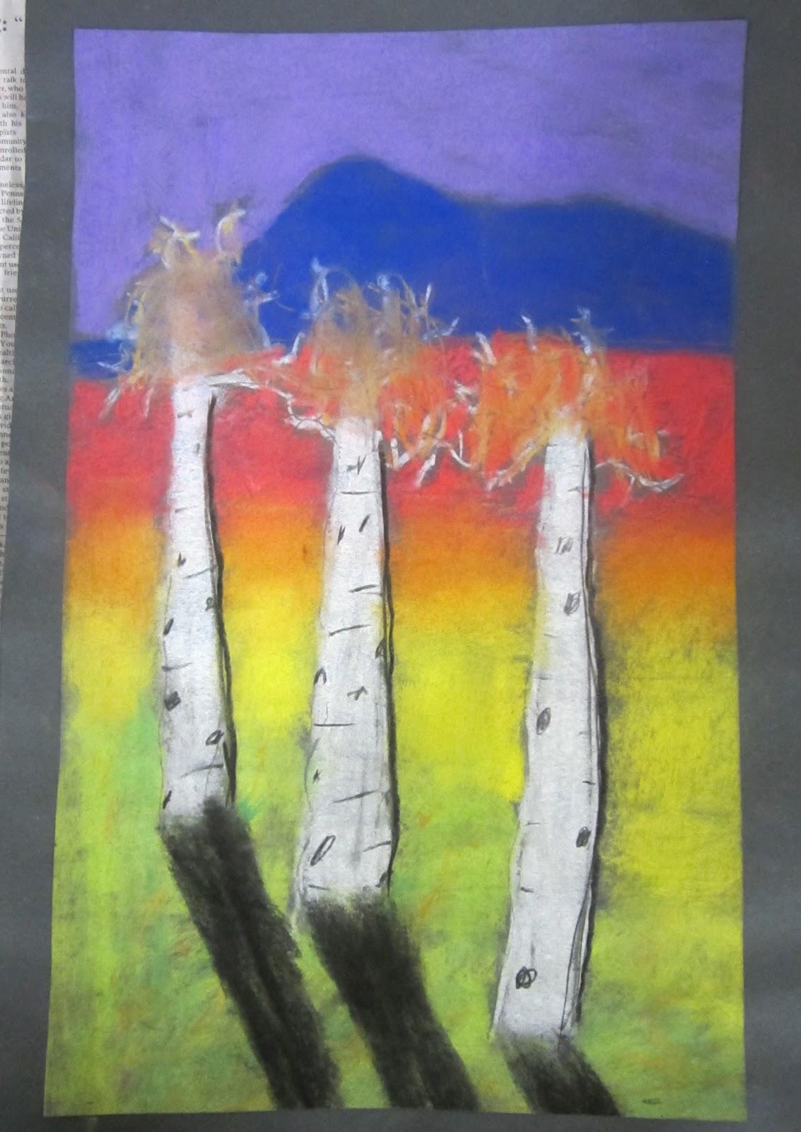 lesson plans  chalk pastel trees