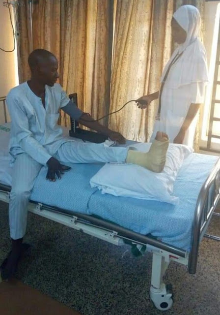 Minister Of Health Visits Man Who Got Leg Injury After Trekking For Buhari (Photos)