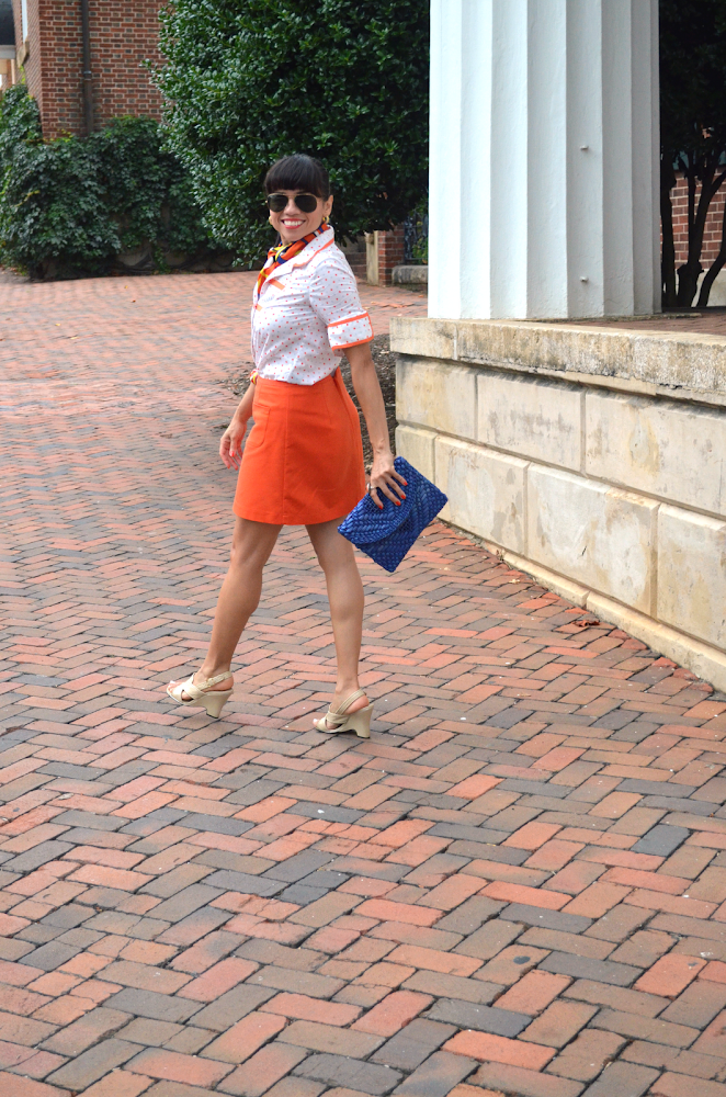 H&M orange skirt outfit