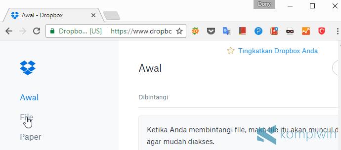 kirim file dengan dropbox