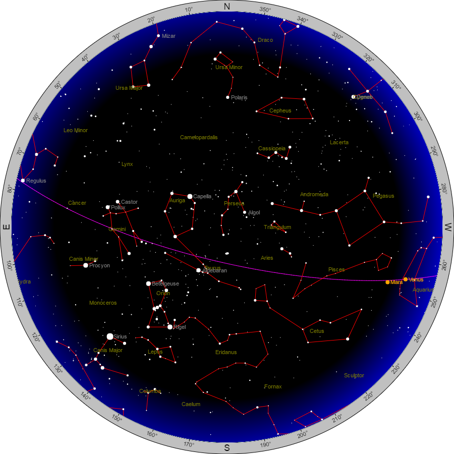 Sky Chart  Tuesday Evening Jan 17th Courtesy Heavens Above