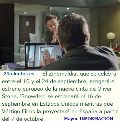 'Snowden', de Oliver Stone, estará en la sección oficial del Festival de San Sebastián