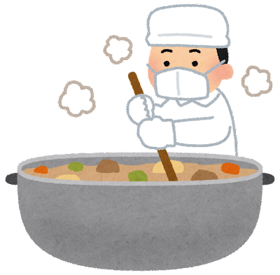 鍋をかき混ぜる男性