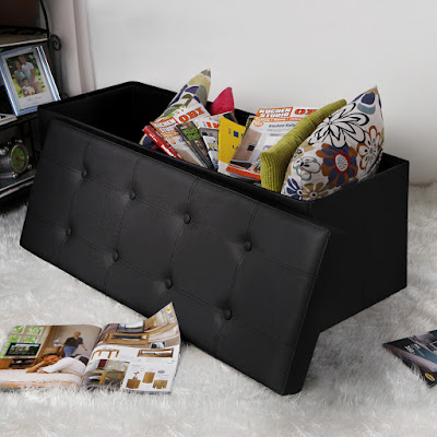 SONGMICS Faux Leather Folding Storage Ottoman Giveaway