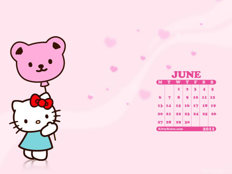 Hello Kitty June 2011 Desktop Calendar Wallpaper Kittyrulez