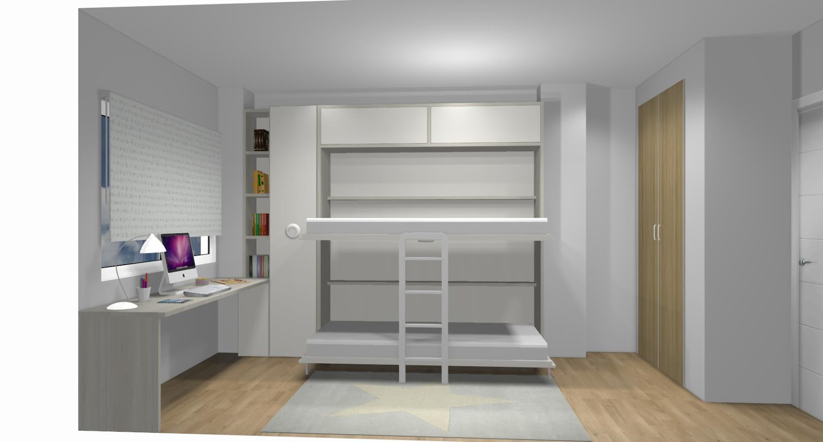 Dormitorio juvenil con cama compacto estanterias y zona de for Dormitorios juveniles dos camas