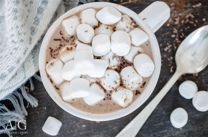Peanut Butter Hot Chocolate Topped with Marshmallows  ||  www.andersonandgrant.com