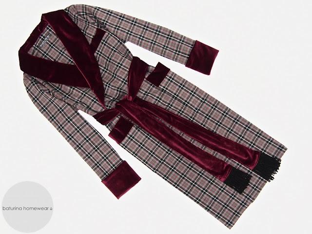 Herren Luxus Hausmantel Wolle kariert Morgenmantel lang warm edel elegant