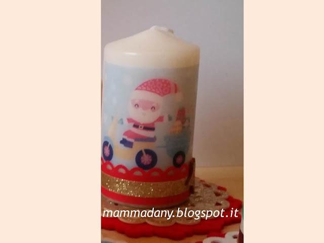 Candele di natale stampate e decorate con babbo natale e centrino feltro rosso