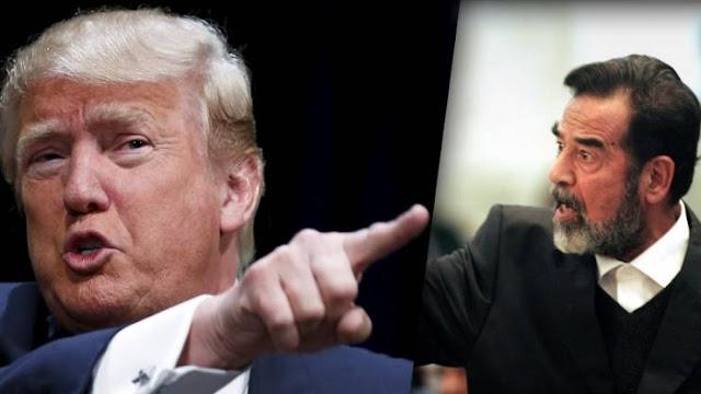 """ترامب يعترف صدام سيء لكن هناك شيء واحد يجيده.. فما هو؟  وقال: """"لو بقي نظاما صدام حسين في العراق ومعمر القذافي في ليبيا، لكان العالم اليوم أقل تفتتا وأكثر استقراراً"""""""