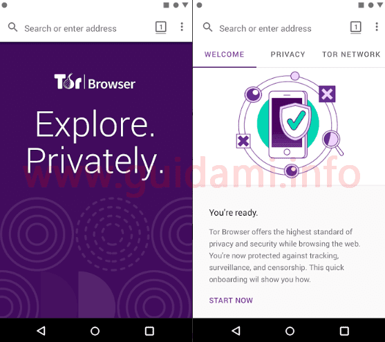 Tor Browser per Android interfaccia