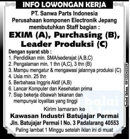 Lowongan PT. Sanwa Part Indonesia