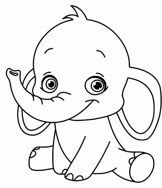 Tranh tô màu voi con cute