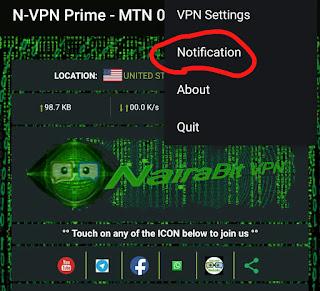 Mtn cheat, VPN notification