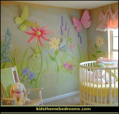 Decorating theme bedrooms maries manor baby girl garden for Baby girl nursery mural