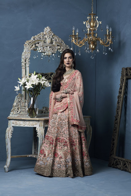 Dupion Lehenga fully hand embroidered in traditional Indian designs by Designer Rashi Kapoor