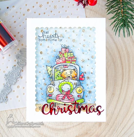 Newton's Nook Designs & Therm O Web Inspiration Week  | Christmas Card by Tatiana Trafimovich using Wintson's Home for Christmas Stamp Set, Petitie Snow Stencil, and Therm O Web foils #newtonsnook #thermoweb