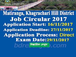 Matiranga, Khagrachari Hill District Paid Peer Volunteer (Female) job circular 2017