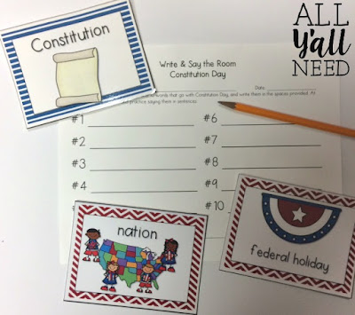 Constitution Write & Say the Room for Speech & Language Therapy by All Y'all Need