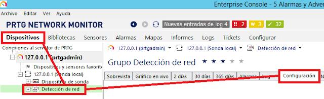 PRTG: Detección de red y crecenciales