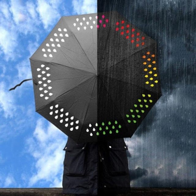 Water Color Changing Tri-Fold Umbrella