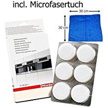Miele , Pastillas descalcificadoras, cafeteras, hornos con climatizador , paño microfibra