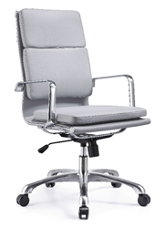 Woodstock Hendrix High Back Conference Chair In Gray Leather