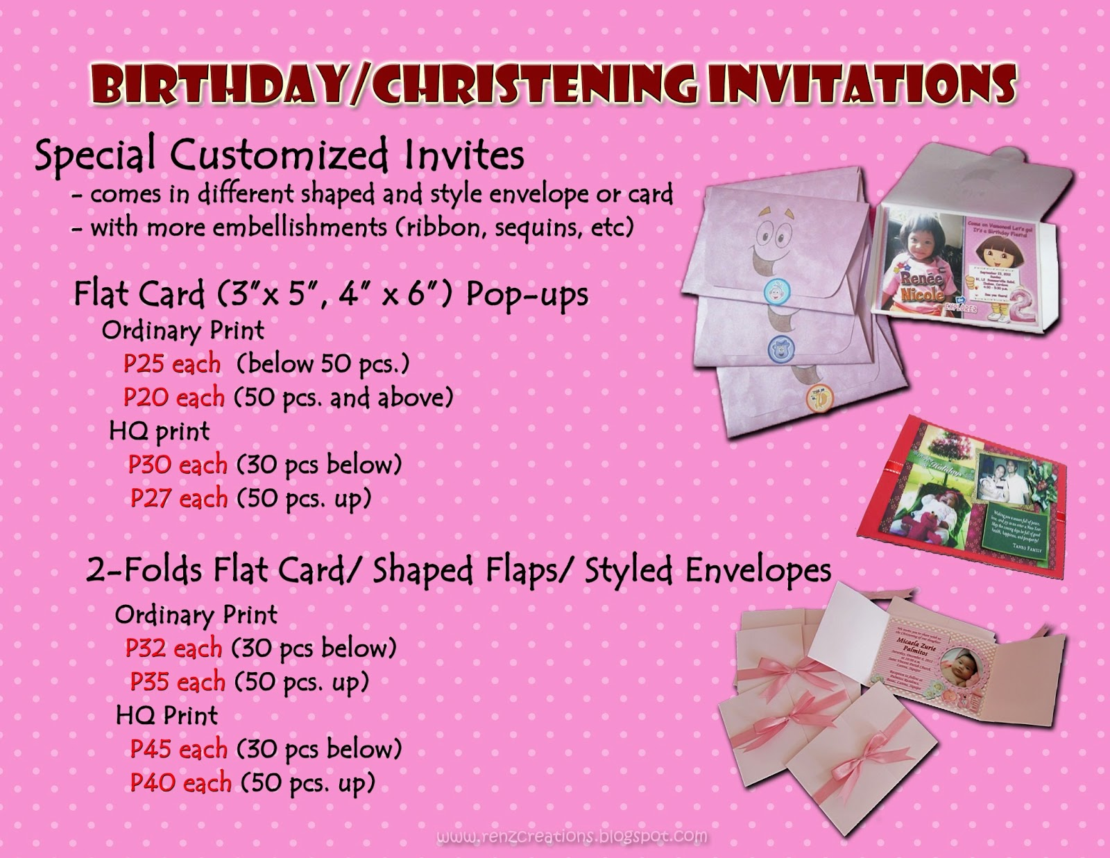 Wedding Invitation Pricing: Renz Creations: Invitations And Giveaways: Prices