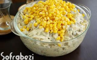 Yesil Mercimekli Misirli Makarna Salatasi