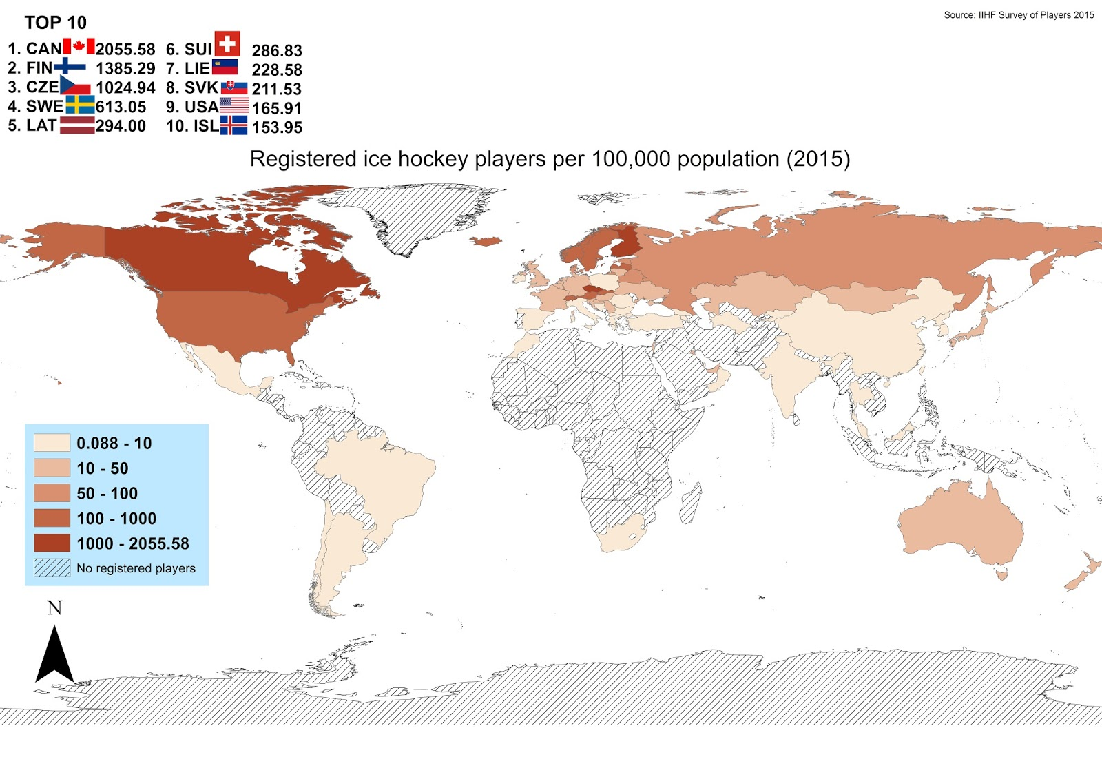 Registered ice hockey players per 100,000 population